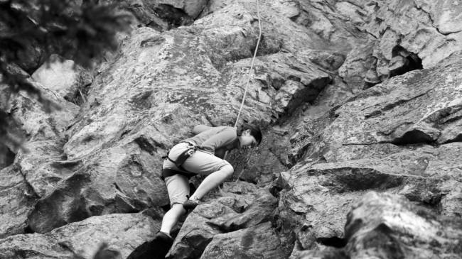 Lezení na Drátenické skále, Blatiny, Žďárské vrchy, Vysočina