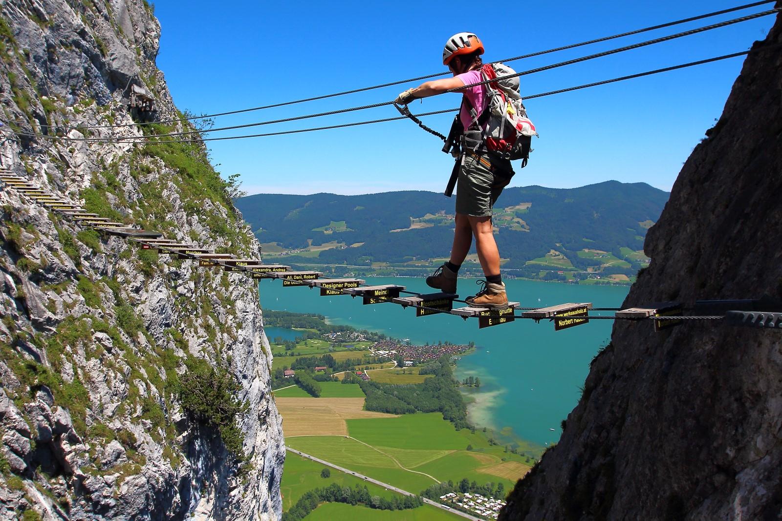 Klettersteig Mondsee : Hany výstup drachenwand klettersteig st lorenz rakousko